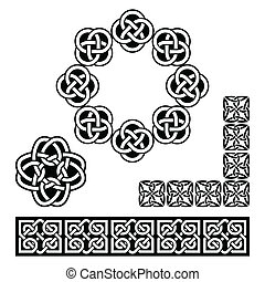 Irish Celtic design - patterns, kno - Set old traditional...