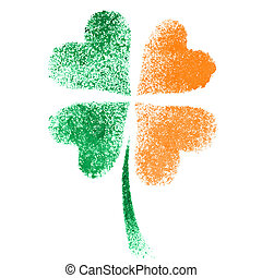 Irish clove- ireland flag - Stenciled four leaf Irish clove...