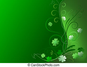 Decorative floral illustration of green and white shamrocks on gradient green background for St. Patrick's Day.