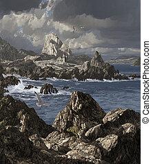 Irish Coast Church - A storm tossed sea along a rocky Irish...