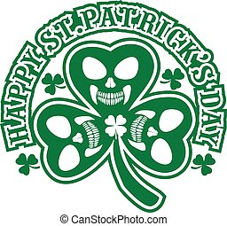 Irish coat of arms with skull and clover