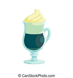 Irish coffee icon, cartoon style