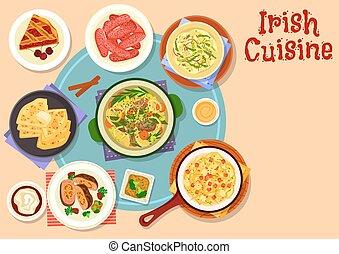 Irish cuisine traditional dinner with dessert icon