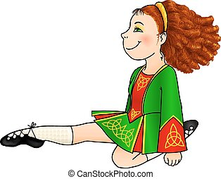 Irish dancing girl in traditional dress and soft shoes