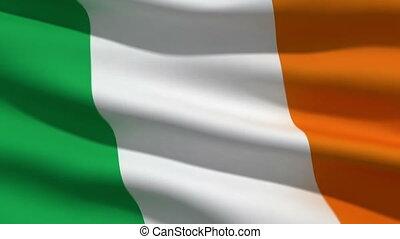 Irish flag, 3d animation. perfect seamless loop