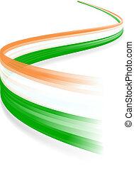 Irish flag - Abstract Irish waving flag isolated on white...