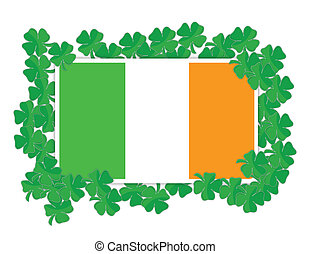 Irish flag around Shamrocks illustration design over white