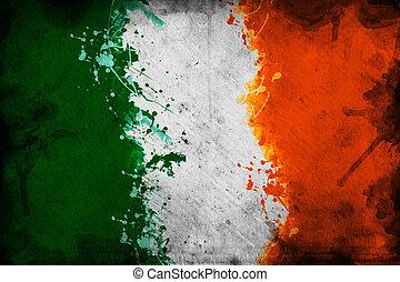Irish flag - Flag of Ireland, image is overlaying a grungy...