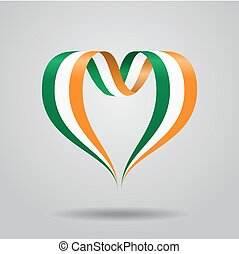 Irish flag heart-shaped ribbon. Vector illustration.