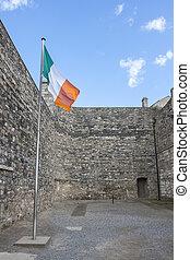 Irish Flag in Kilmainham Gaol in Dublin - Flag of Ireland in...