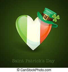 Irish Flag In The Shape Of A Heart.