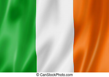 Ireland flag, three dimensional render, satin texture