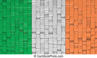 Irish flag made of cubes moving up and down in a random pattern. 3D animated motion background loop.