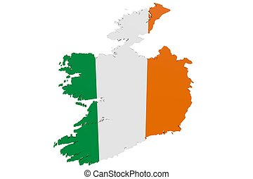 Irish Flag Map - 3D map of Ireland in the colors of the...