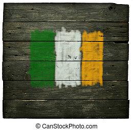 irish flag on old wooden planks
