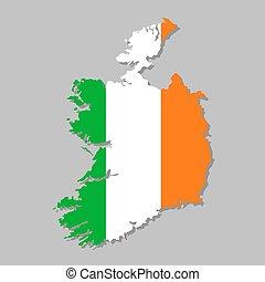 Irish flag on the map