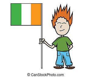 Irish flag - Proud young male holding the irish flag