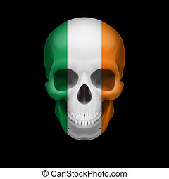 Human skull with flag of Ireland. Threat to national security, war or dying out