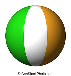 Irish flag sphere isolated on white illustration