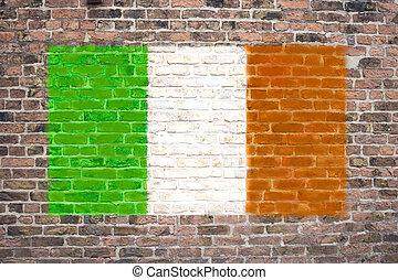 Irish flag sprayed on brick wall