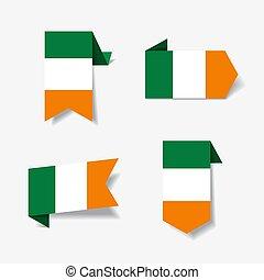 Irish flag stickers and labels. Vector illustration. - Irish...