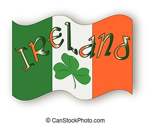 Irish Flag - The Republic of Ireland flag with the text...
