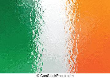 Irish flag - triangular polygonal pattern of crumpled shiny...