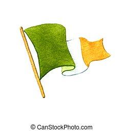 Irish flag. Watercolor illustration on white