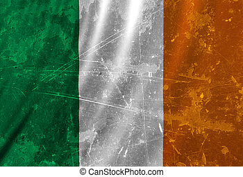 Irish flag waving in the wind with some folds