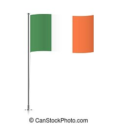 Irish flag waving on a metallic pole.
