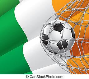 Irish flag with a soccer ball