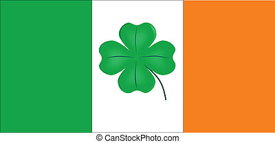 Irish Flag With Lucky Shamrock - The Flag if Ireland with an...
