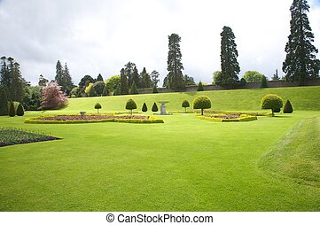 irish garden - green meadow at a public park next to dublin
