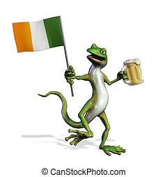 Irish Gecko with Beer