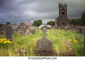 Irish graveyard cemetary dark clouds