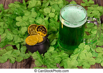 green beer with gold coins