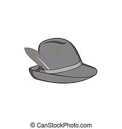 Irish hat icon, black monochrome style