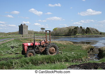 Irish landscape - Lovely Irish landscape scene. Tractor,...