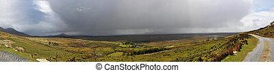 Lanscape in Irish Connemara with Very Big Rainy Clouds