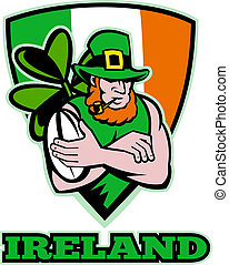 Irish leprechaun rugby player - illustration of an Irish...