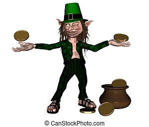 Irish Leprechaun with pot of gold - Drunken leprechaun with...