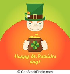 Irish Leprechaun with pot of gold vector illustration in traditional irish colors. Greeting card for St. Patricks Day.