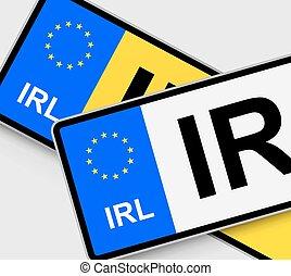 Irish Licence Plates - Front and rear Irish vehicle licence...