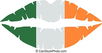 Irish lips in colors of the ireland flag