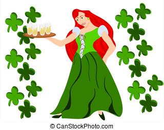 irish maiden red hair clover - editable eps vector format,...
