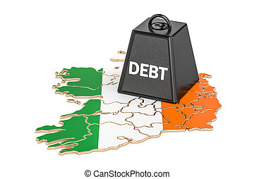 Irish national debt or budget deficit, financial crisis concept, 3D rendering