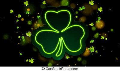 Irish neon shamrock clover with bokeh lights abstract motion background. Saint Patrick Day greeting design. Video animation Ultra HD 4K 3840x2160