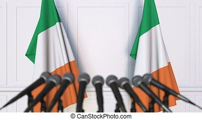 Irish official press conference with flags of Ireland. 3D...