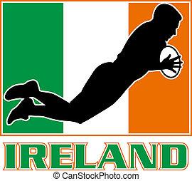Irish rugby player Ireland flag - illustration of a...