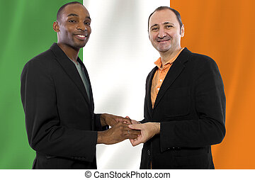 Irish Same Sex Marriage - Interracial male gay couple...
